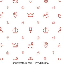 pin icons pattern seamless white background. Included editable outline crown, pin on globe, location, bowling, location pin, locations, distance icons. icons for web and mobile.
