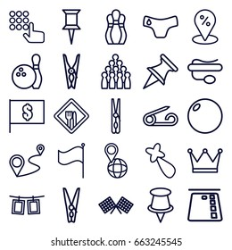 Pin icons set. set of 25 pin outline icons such as children panties, hair barrette, distance, flag, photos on rope, restaurant, finish flag, bowling, flag with dollar