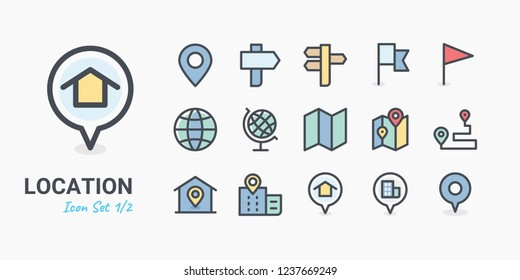 Pin Location icon set 1