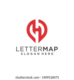 Pin location with letter h logo and business card inspiration