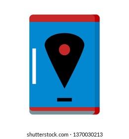 Pin map location, smartphone screen Icon Vector -