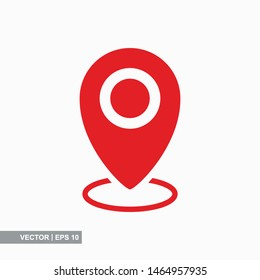 Pin map place location icon on white background, vector illustration