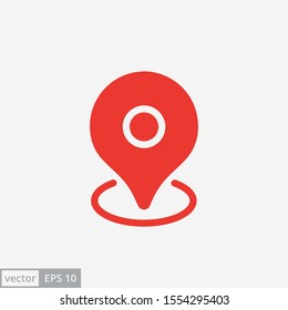 Pin map place location icon on white background, vector illustration. EPS 10