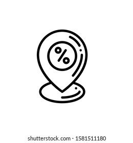 Pin Marker Location Icon Outline Vector. Holiday Sale Icons. Online Shop Ikon.