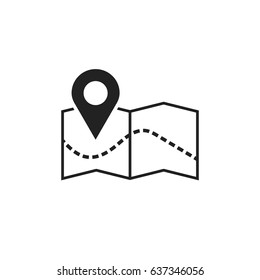 Pin on the map icon. Map gps vector illustration.