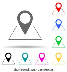 pin on the map multi color style icon. Simple thin line, outline vector of web icons for ui and ux, website or mobile application