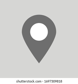 pin point icon isolated on grey background. vector illustration