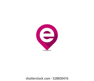Pin Point Letter Initial E Logo Design Template