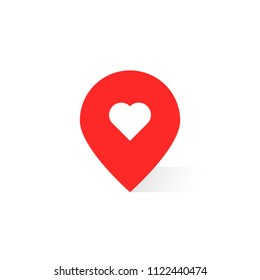 pin pointer like favorite place. concept of point finder for ecommerce or roadmap and best right path to shop or house. flat simple trend logotype graphic minimal design ui element isolated on white