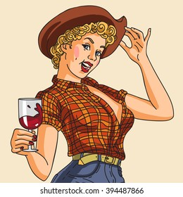 pin up sexy cowgirl hanging a glass of wine