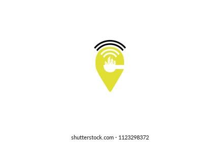 pin skyline signal wifi logo icon vector