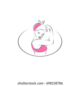 Pin up strong girl Rosie the Riveter illustration on white isolated background