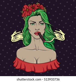 Pin up style girl smoking cigar. Vector illustration of girl in floral hairband on dotted background. Doodle for t-shirt, sticker, logo, postcard and label design.