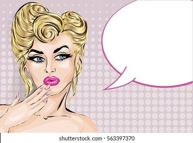 Pin up style surprised woman with speech bubble, pop art girl portrait, vector illustration background
