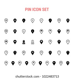 Pin vector icon, map marker symbol. Flat sign illustration for web or mobile app on white background isolated