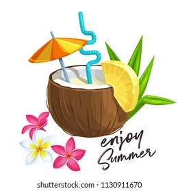 Pina colada cocktail in coconut with slice of pineapple and umbrella, tropical flowers of plumeria. Vector illustration in cartoon style.