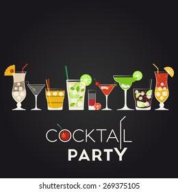 Pina Colada, Dry Martini, Screwdriver, Mojito, Bloody Mary, Cosmopolitan, Margarita, Cuba Libre, Tequila Sunrise. Cocktail party invitation poster for your design