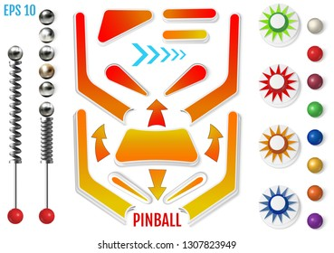 Pinball elements. Colored bumpers and flippers kit. Realistic set with different tools. Game design and creative concepts. Vector Illustration isolated on white background.