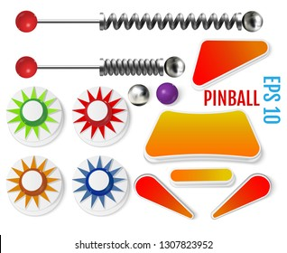 Pinball elements. Realistic set with different tools. Colored bumpers and flippers kit. Game design and creative concepts. Vector Illustration isolated on white background.