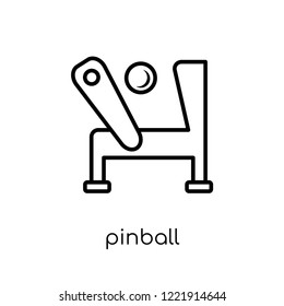 pinball icon. Trendy modern flat linear vector pinball icon on white background from thin line Entertainment collection, outline vector illustration