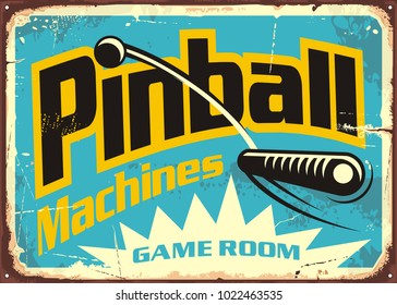 Pinball machines game room retro sign advertisement. Leisure flipper games vintage poster design. Vector illustration.