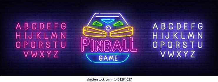 Pinball neon sign, bright signboard, light banner. Pinball logo, emblem. Neon sign creator. Neon text edit. Vector illustration