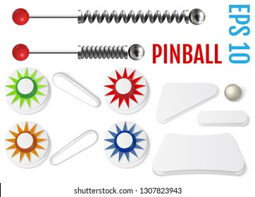 Pinball set. Bumpers and flippers mockup kit. Game design and creative concepts. Vector Illustration isolated on white background.