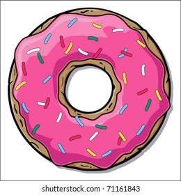 Pinc doughnut. Vector