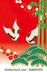 Pine bamboo plum and bird