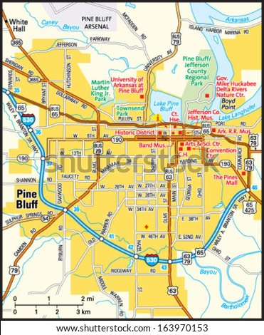 Pine Bluff Arkansas Area Map Stock Vector Royalty Free 163970153