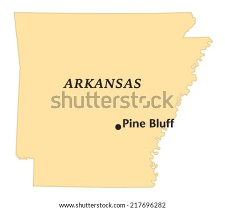 Pine Bluff Arkansas Locate Map Stock Vector Royalty Free 217696282
