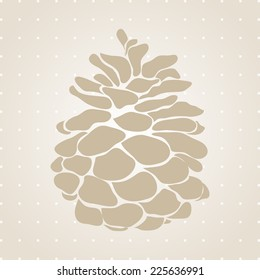Pine cone Christmas tree of big plan.Happy New Year Card