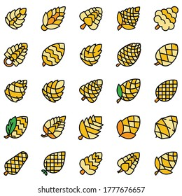 Pine cone icons set. Outline set of pine cone vector icons thin line color flat on white