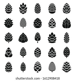 Pine cone icons set. Simple set of pine cone vector icons for web design on white background