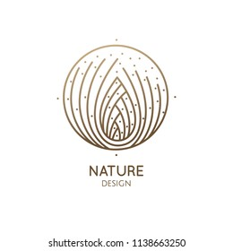 Pine cone logo. Abstract vector icon with fir-needles. Linear round emblem for design of natural organic products, packaging of cosmetics, oils and ecology concepts, health, spa and yoga Center.