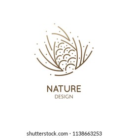 Pine cone logo. Abstract vector icon with fir-needles. Linear simple emblem for design of natural organic products, packaging of cosmetics, oils and ecology concepts, health, spa and yoga Center.
