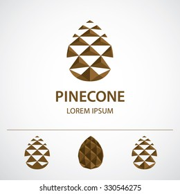 Pine cone logo template, variations. Low polygonal icon or concept image, vector illustration.