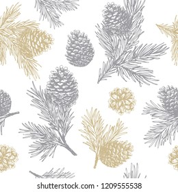 Pine cones and branches seamless pattern. Christmas gift wrapping.