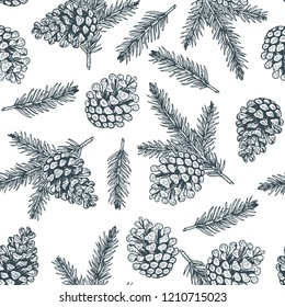 Pine cones and pine branches seamless pattern. Christmas hand drawn background.