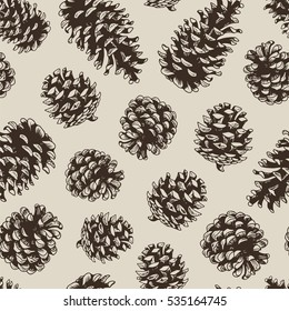 Pine cones fir tree vector seamless pattern, brown botanical hand drawn illustration, xmas pine cones, engraved collection for greeting cards, backgrounds, holiday decor