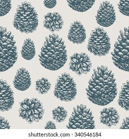 Pine cones pattern. Christmas gift wrapping. Vector illustration