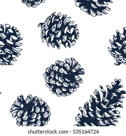 Pine cones vector seamless pattern, botanical hand drawn illustration, xmas pinecones, engraved collection for greeting cards, backgrounds, holiday decor