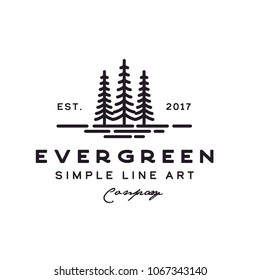 Pine Evergreen Cedar Hemlock Blue Spruce tree forest vintage retro hipster line art Logo design