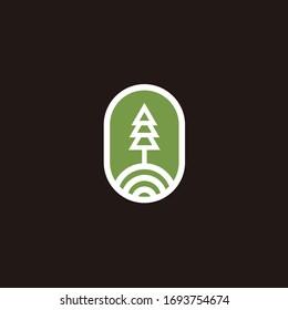 Pine, evergreen, fir, hemlock, spruce, conifer, cedar, coniferous, cypress, larch, pinus tree forest vintage retro hipster line art Logo design