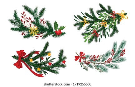 Pine and Fir Tree Branches Decorated with Ribbon and Mistletoe Vector Set