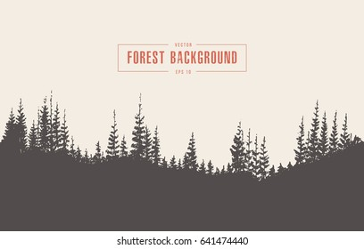 Pine forest background, vector illustration, hand drawn, sketch