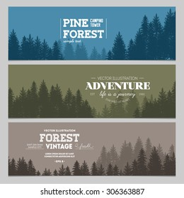 Pine forest. Journey banner collection. Vector illustration