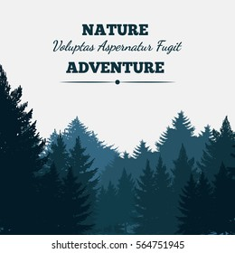 Pine forest landscape background with text. Vector illustration