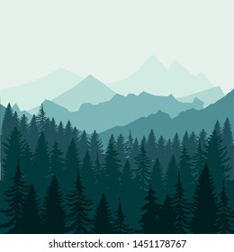 Pine forest and mountains backgrounds. Panorama taiga silhouette illustration vector EPS