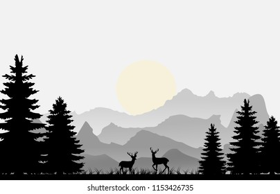Pine forest with mountains layer and deer at night under moon illustration vector